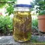 Yarrow tincture recipe in a jar.
